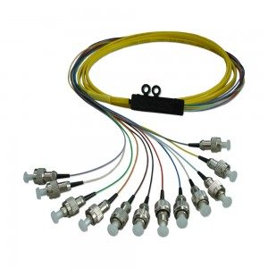 FC Ribbon Optical Fiber Pigtail Fan out 12Connectors with 0.9mm tight bufferd Fiber cable