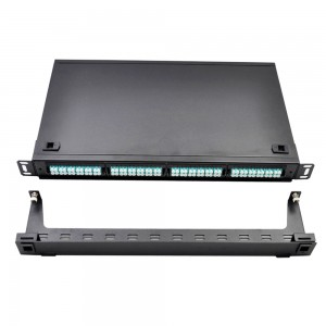 MPO-MPO Fiber Patch Panel with 24 10G Aqua Adapters for up to 576 Fibers