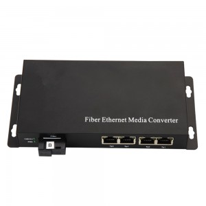 Fiber Ethernet Media Converter with 4 UTP Port